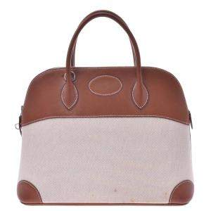 Hermes Brown/beige Leather Bolide 37  bag