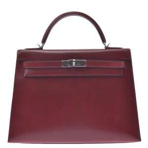 Hermes Red Box Leather Kelly Sellier 32 Bag
