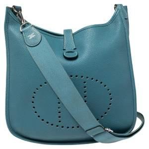 حقيبة هيرمس افيلين جلد توغو جين زرقاء III GM