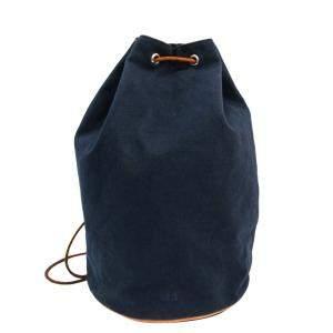 Hermes Blue Canvas Polochon Mimil GM Bag