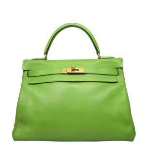 Hermes Green leather Kelly 32 Bag