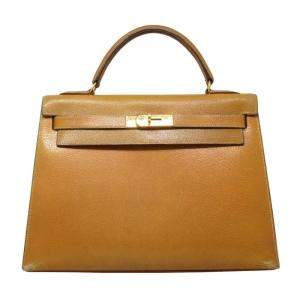 Hermes Brown Leather Kelly 32 Bag