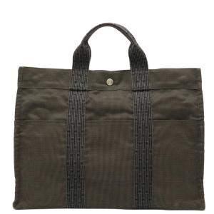 Hermes Black Canvas Herline GM Tote Bag