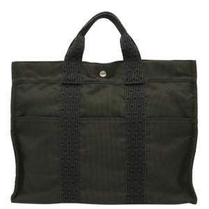 Hermes Grey Canvas Herline Tote MM Bag