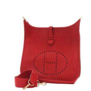 Hermes Red Leather Evelyn PM Bag