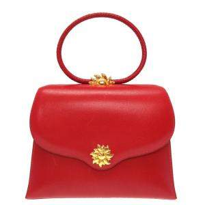 Hermes Red Leather Vintage Ilio Top Handle Bag