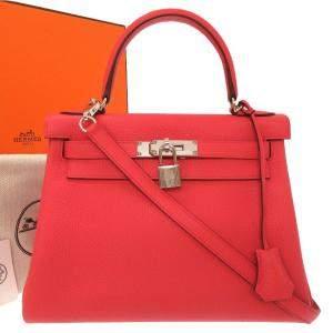 حقيبة هيرمس كيلى 28 جلد حمراء