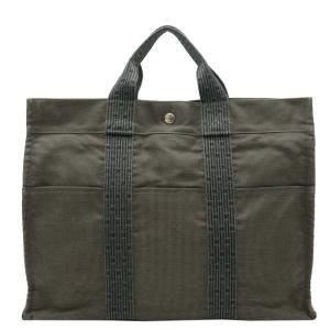 Hermes Green Canvas Herline Tote MM Bag