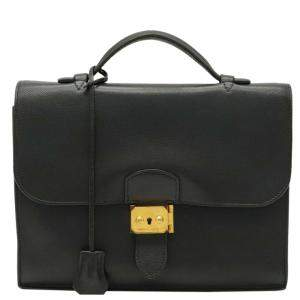 Hermes Black Leather Togo Sac a Depeches 27 Bag