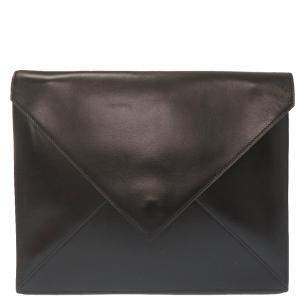Hermes Black Leather Vintage Clutch Bag