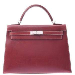 Hermes Burgundy Leather Kelly Sellier 32 Bag