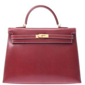 Hermes Burgundy Leather Kelly 35 bag