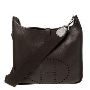 Hermes Cacao Clemence Leather Evelyne III GM Bag