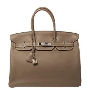 Hermès Etoupe Togo Leather Palladium Hardware Birkin 35 Bag