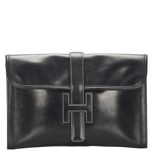 Hermes Black Leather Box Jige GM Clutch