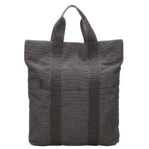 Hermes Grey/Black Canvas Fourre Tout Cabas Tote Bag