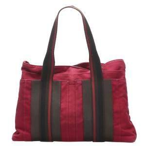 Hermes Red Canvas Sac Troca Horizontal MM Tote Bag