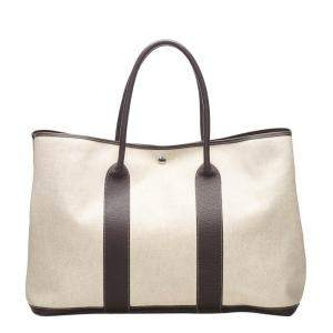 Hermes Beige Canvas Garden Party GM Tote Bag