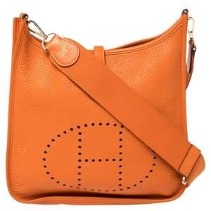 Hermès Orange Clemence Leather Evelyne III PM Bag