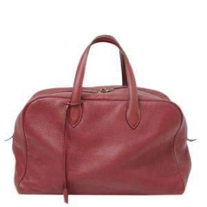 Hermes Red Clemence Leather Victoria II 35 Boston bag