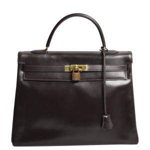 Hermes Brown Box Leather Kelly 35 Bag