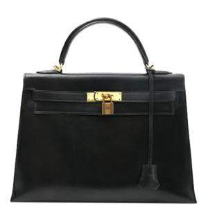 Hermes Black Box Leather Kelly 32 Bag