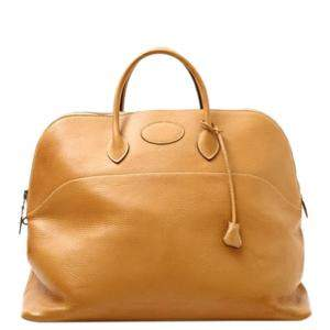 Hermes Brown Taurillon Clemence Leather Bolide 45 Bag