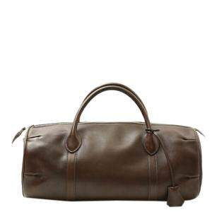 Hermes Brown Clemence Leather Voyage Polochon 35 Mini Boston Bag