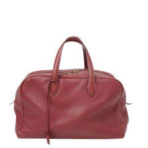 Hermes Red Clemence Leather Victoria 35 Boston bag