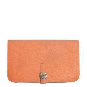 Hermes Orange Togo leather Dogon long wallet