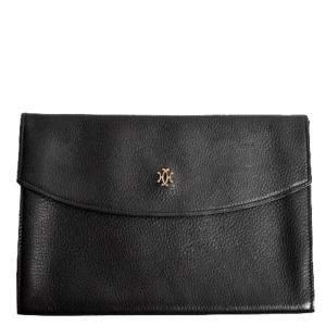 Hermes Black Leather Vintage Rio Clutch Bag