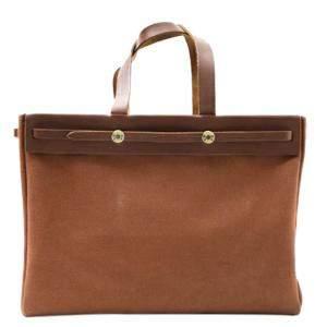 Hermes Brown Leather Herbag Cabas Tote bag