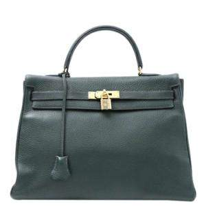 Hermes Green Clemence Leather Kelly 35 Bag
