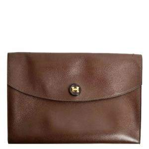 Hermes Brown Leather Pochette Rio Clutch Bag