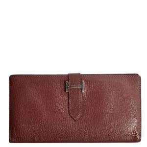 Hermes Brown Chevre Leather Bearn Wallet