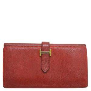 Hermes Red Leather Bearn Classic Wallet