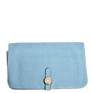 Hermes Blue Clemence Leather Dogon Combined Wallet