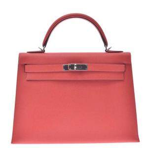 Hermes Red Epsom Leather Kelly Sellier 32 Bag