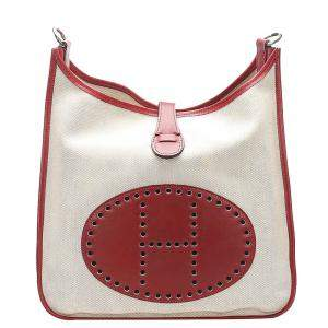 Hermes Beige Canvas Evelyne I GM Bag