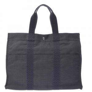 Hermes Grey Toile Canvas Herline GM Bag