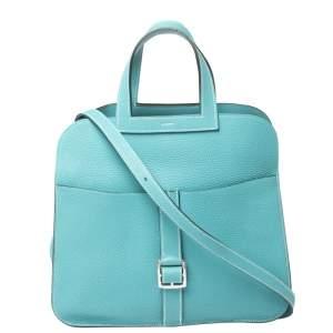 Hermes Blue Saint-Cyr Clemence Leather Palladium Hardware Halzan 31 Bag