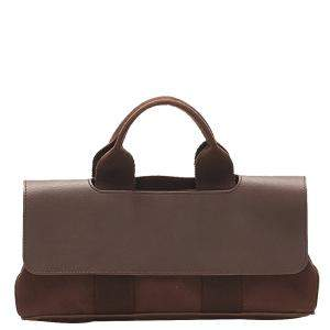 Hermes Brown Toile Chevrons Valparaiso PM Bag