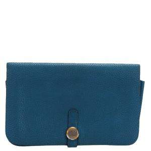 Hermes Blue Togo Leather Dogon Duo Combined Wallet