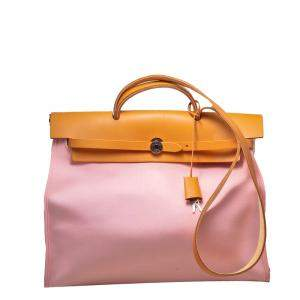 Hermes Pink & Brown Canvas & Leather Herbag 39 Bag