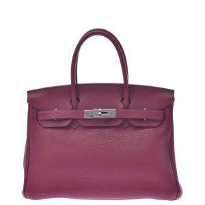 Hermes Red Clemence Leather Birkin 30 Bag