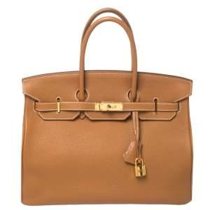 حقيبة هيرمس بيركين 35 إكسسوار ذهبي جلد توجو ذهبي