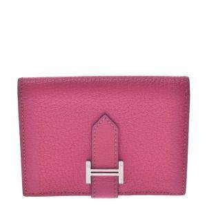 Hermes Pink Chevre Mysore Leather Bearn Wallet
