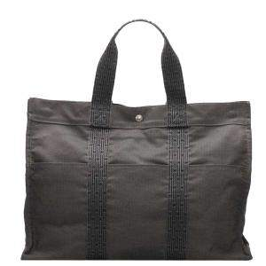 Hermes Grey Toile Canvas  Fourre Tout GM Tote Bag