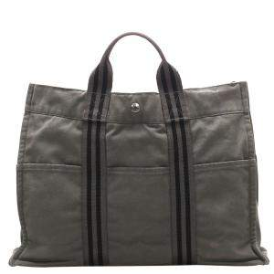 Hermes Grey Toile Canvas Fourre Tout MM Tote Bag