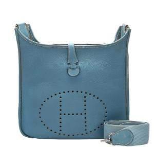 Hermes Blue Togo Leather Evelyne PM Bag